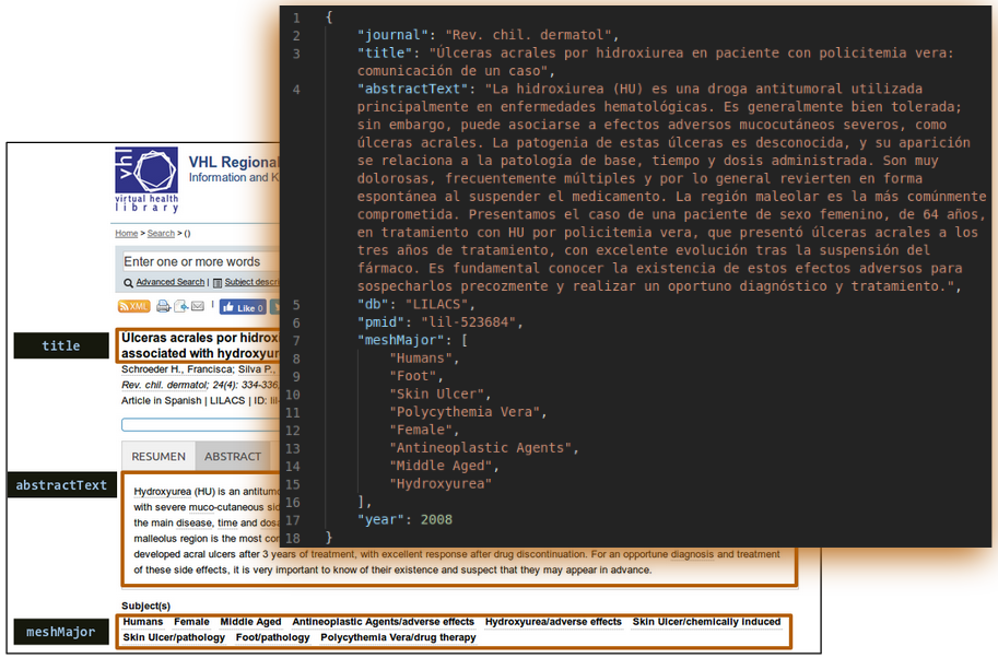 MESINESP screenshots composition showing JSON object transformation for an article